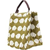 Mziart Reusable Cotton Lunch Bag Insulated Lunch Tote Soft Bento Cooler Bag (Brown Hedgehog)