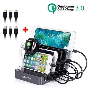 Estación de Carga USB de 6 Puertos, ISENPENK Múltiple Soporte de Carga de Escritorio Cargador 2.4A con 5 Puertos Carga Inteligentes USB + 1 Puerto ...