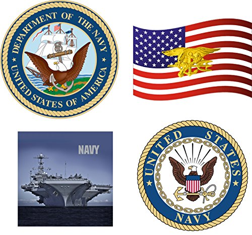 Complete Set of 4 USN US Navy United States Patriotic Military Seal Emblem Auto Decal Bumper Sticker Vinyl Decal For Car Truck Van RV SUV Boat Carrier Jet Window Support (Complete Decal Set)