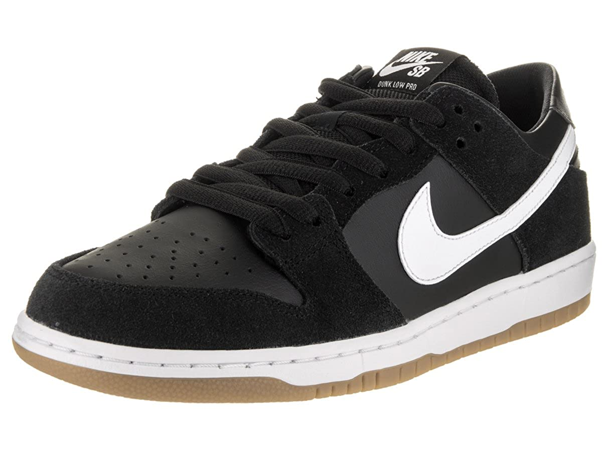 Amazon.com | Nike SB Zoom Dunk Low Pro Black/White-Gum Light Brown ...