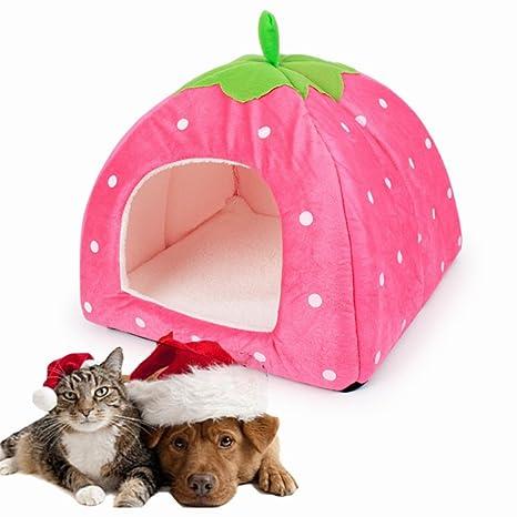 LA VIE 2 en 1 Casa Linda para Mascotas Plegable Suave con Cojín y Base Antideslizante
