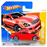 Mattel Year 2010 Hot Wheels ''2010 HW PREMIERE'' Series Set (37/52) 1:64 Scale Die Cast Car (37/214) - Red Compact Executive Luxury Coupe '10 INFINITI G37 (R0952)