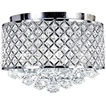 New Galaxy 4-light Chrome Finish Round Metal Shade Crystal Chandelier Flush Mount Ceiling Fixture