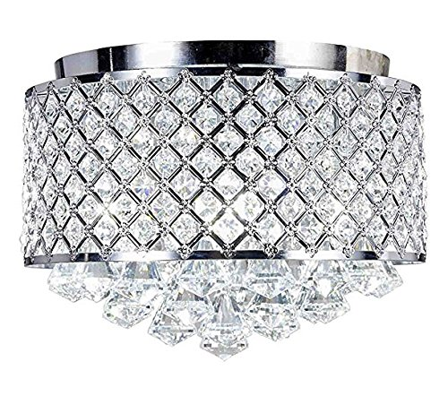 Diamond Life 4-light Chrome Finish Round Metal Shade Crystal Chandelier Flush Mount Ceiling Fixture -