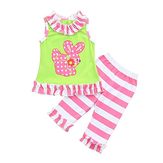 cd547f43728 Amazon.com  Lookvv Infant Baby Toddler Girl Summer Outfit 2pc Rabbit Print  Top + Short Pants Easter Clothes  Clothing