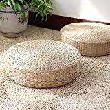 3BEES® Japanese Style Handcrafted Eco-friendly Breathable Padded Knitted Straw Flat Seat Cushion,Hand Woven Tatami Floor Cushion Corn Maize Husk