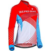 ZEROBIKE Women's Long Sleeve Cycling Jersey Outdoor Sports Slim Fit Full Zip Breathable and Quick Dry