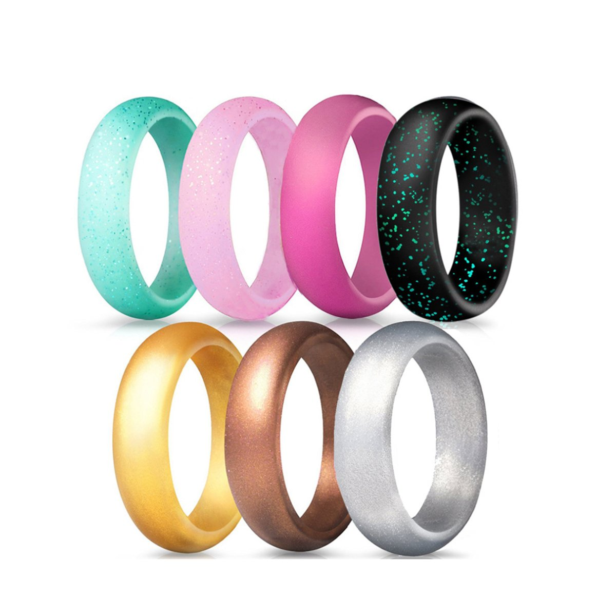 Silicone Wedding Ring for Women Men Silicone Rubber Wedding Bands 5.7mm Width 7 Pack (10)