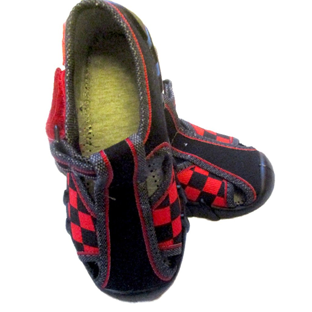 European Shoes Speedy Boy Dark Blue Shoes with Red Checkers Design