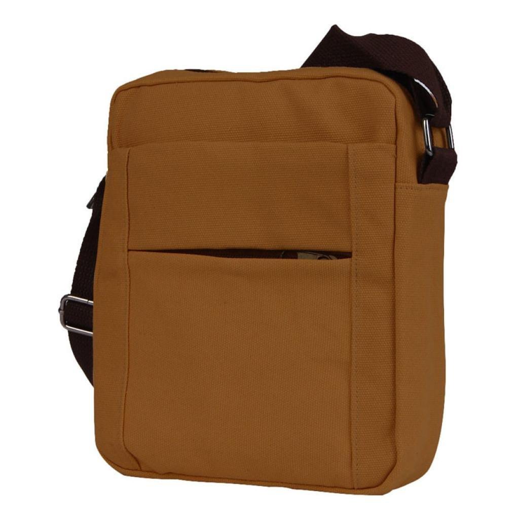 Pocciol Men Love Bags, Men's Fashion Design Canvas Shoulder Bag Crossbody Shoulder Bag Messenger Bag Work Bag (Brown)