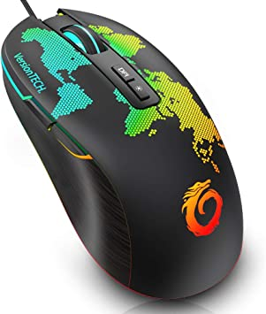Red Show Time:Wired Optical Mouse 6-Button USB Wired Mouse Optical Office Business Gaming Mouse for Windows
