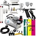 OPHIR 2PCS Airbrush Kit with 110V PRO Air Compressor Air Brush Spray Gun Paint for Hobby Cake Decoration Body Paint