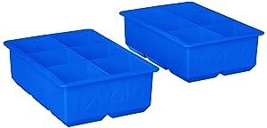 Tovolo 81-21754 Large Mold Freezer 2-Inch King Cube Ice Trays, Stratus Blue-Set of 2