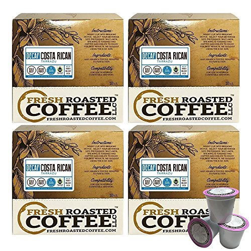 Fresh Roasted Coffee LLC, Swiss Water Decaf Costa Rica Tarrazu Coffee Pods, Single Origin, Fair Trade, Medium Roast, Capsules Compatible with 1.0 & 2.0 Single-Serve Brewers, 72 Count