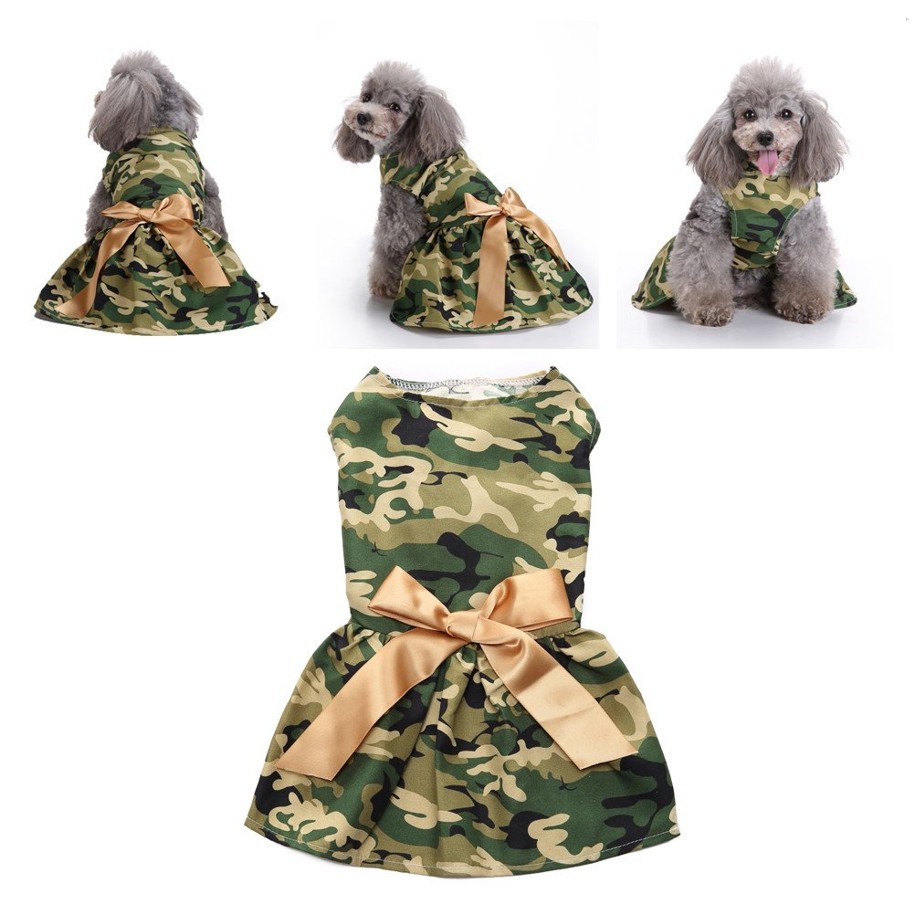 Hpapadks Pet Camouflage Skirt,Fashion Army Green Camouflage Pet Dog Dress Clothes Dog Clothes Puppy Sweaters
