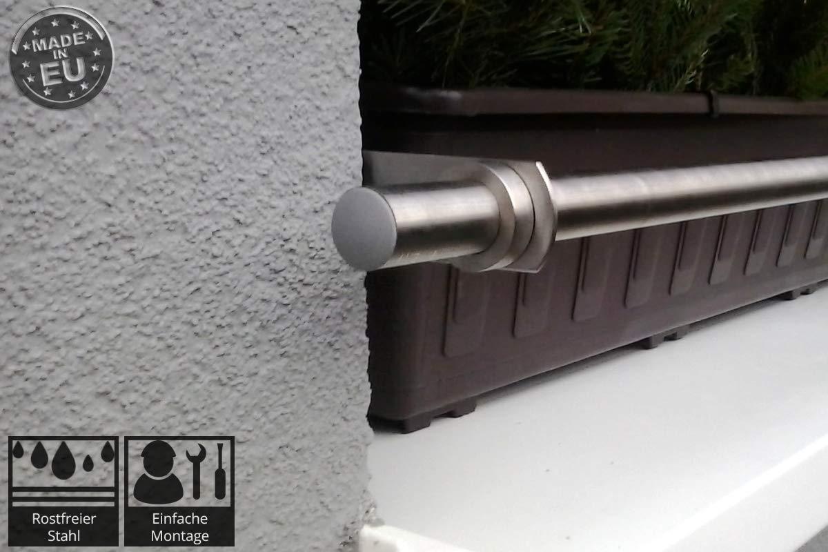 Dastech Blumenkastenhalterung in die Fensterlaibung f/ür Durchmesser 1500 bis 2000 mmm Rostfreies Edelstahl V2A