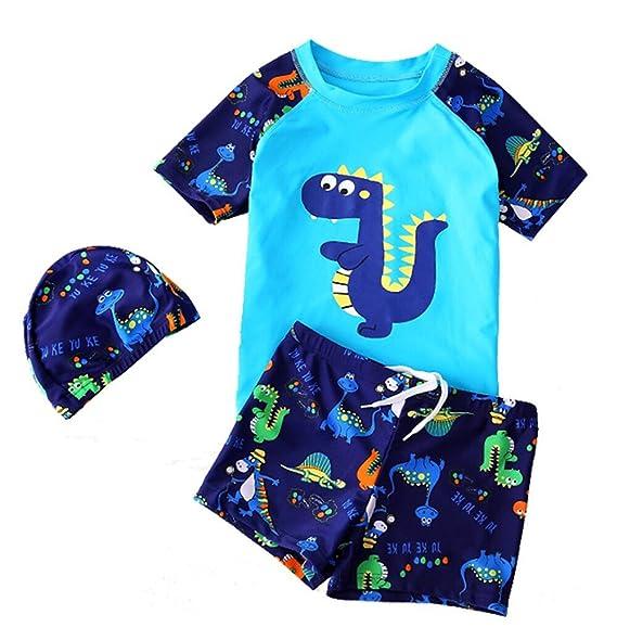 05f5c2a35f BANGELY Kid Boy Anchor Print Short Sleeve Rash Guard Swimsuit Set UV  Protection Swimwear Size 3
