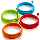 Emoly Silicone Egg Ring, Egg Rings Non Stick, Egg Cooking Rings, Perfect Fried Egg Mold or Pancake Rings (New,4pcs)