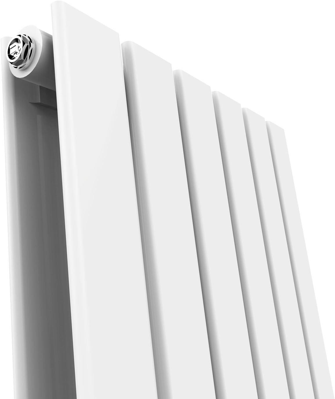 ELEGNT 600 x 600 mm Designer Horizontal Radiator White Double Flat Panel Bathroom Radiators Modern Panel Heaters