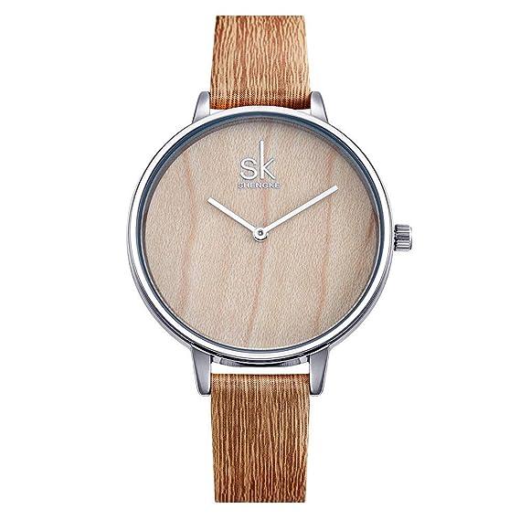 Relojes Mujer con Correa de Cuero de Grano de Madera Marrón, 2 Punteros Minimalista Relojes de Pulsera Moda, Bisel Plateado: Amazon.es: Relojes