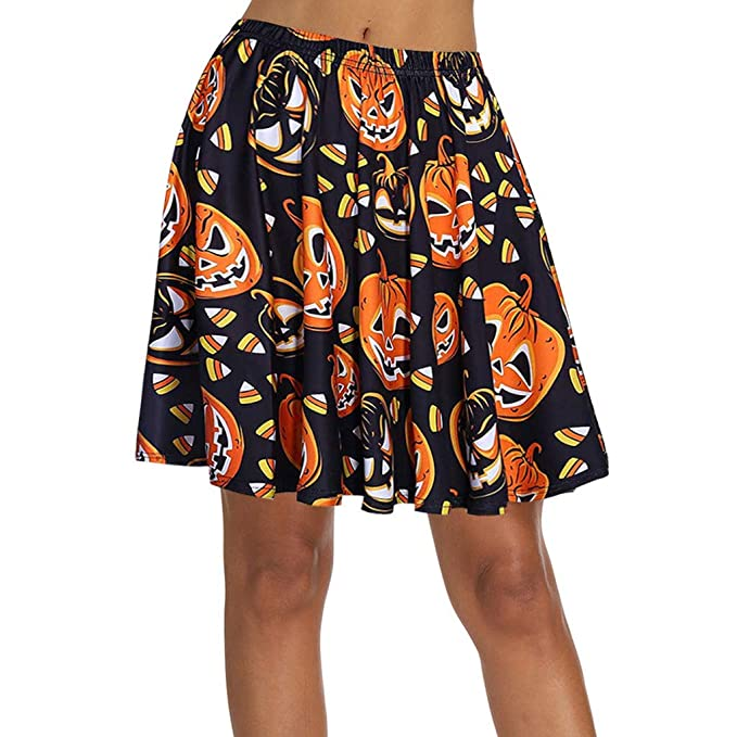 Honestyi - Mini Falda para Mujer, diseño de Calabaza de Halloween ...