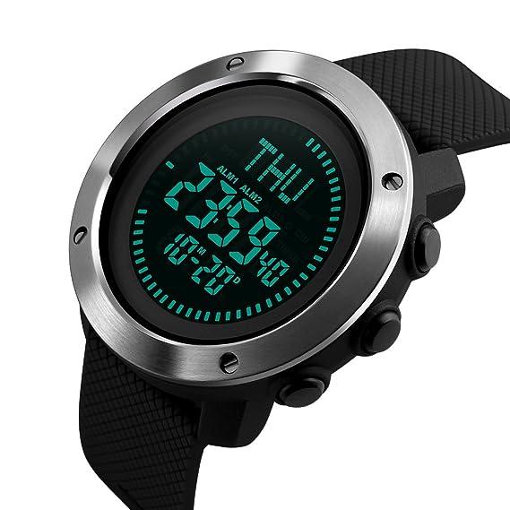 caluxe deporte hombres correa de PU reloj Digital LED cronómetro hora mundial brújula alarma impermeable profesional al aire libre reloj de pulsera: ...