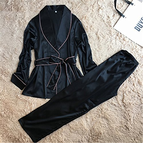 Dr Jean Lyrics (Satin Women Pajamas Autumn Ladies Pijama Long Sleeve Silk Pajamas Sets Pyjama Nightwear with Long Pants Hot Black Set XL)