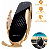 2020 Upgraded Wireless Car Charger 15W Max Fast Charging Car Mount, Infrared Sensor Auto-Clamping Smart Car Phone Holder Compatible with iPhone 11/11 Pro/11 Pro Max/XS/X/8, LG V30/V35, Samsung Note 10/S10+/S9,Huawei P30 Pro (Black Gold)