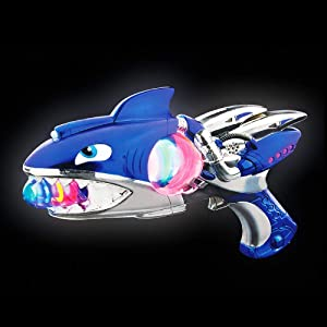 Mozlly Super Spinner Light Up Flashing Lights and Sounds Blue Shark Blaster, 11.5 inch with Vibrations FX Batteries Included Alien Costume Rangers Cosplay Space Lazer Ray Gun Prop Toy for Kids Boys