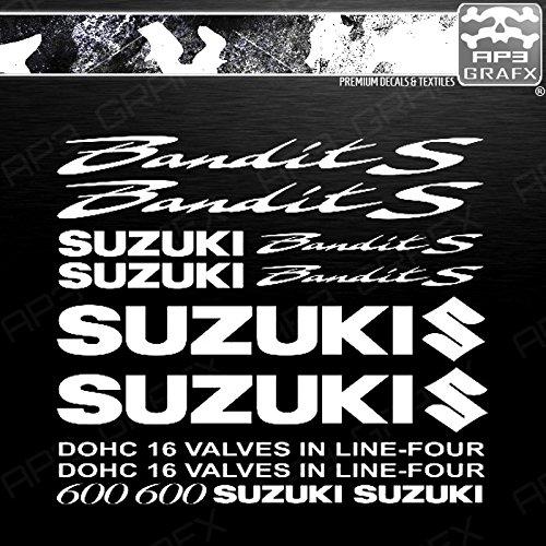 AP3 GRAFX Planche Stickers Autocollants Suzuki Bandit S 600 - Blanc - gsx, gsxr, gsx r, gsx-r, Intruder, GSX S, Hayabusa, v-Strom, RM, Bandit, bking, RG, gixxer, gsxf