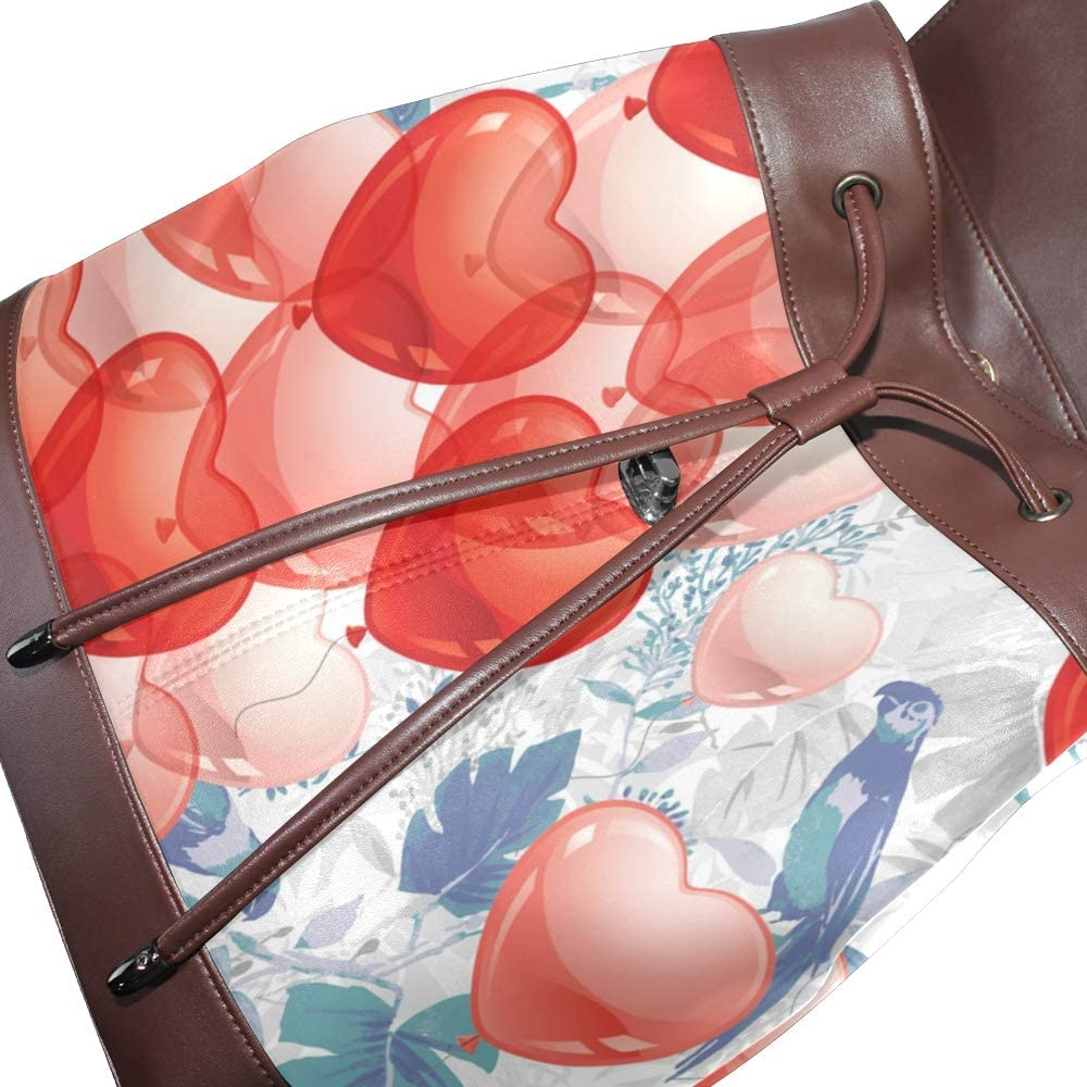 PU Leather Shoulder Bag,Heart Bubble Backpack,Portable Travel School Rucksack,Satchel with Top Handle