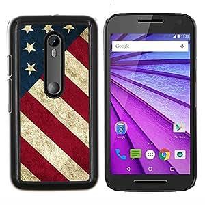 Eason Shop / Premium SLIM PC / Aliminium Casa Carcasa Funda Case Bandera Cover - Raya de la bandera americana patriótica Rústico - For Motorola MOTO G3 ( 3nd Generation )