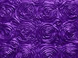 Zen Creative Designs Satin Rosette Floral Fabric 54 Inch Wide / Fancy Pattern Fabric / Floral Rose Fabric / Craft & Sewing Material (10 Yards, Purple)