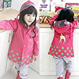 Kid Rain Coat ,Cartoon Waterproof Children's Raincoat Lightweight for Ages 3-12 Years Old Girls and Boys 4 Size,(Pink -M)