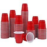 Abom Mini Disposable Shot Glasses - 2oz 120 Count Red Plastic Shot Cups Mini Party Cups for Jello Shots, Jager Bomb,Condiment