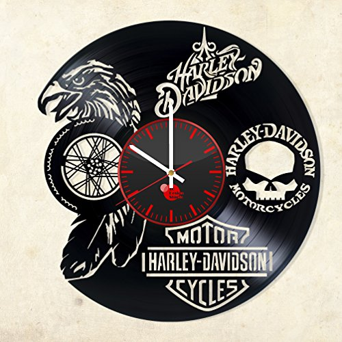 Motorcycle Logo Design Vinyl Record Wall Clock - Gift Idea for Men and Women - Contemporary bedroom or bathroom wall art decoration -