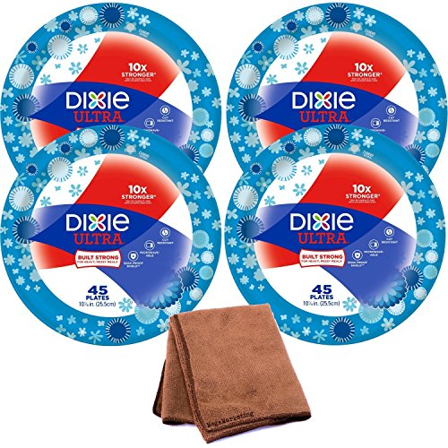 Dixie Ultra Disposable Paper Plates, 10 1/16 Inch, 45 Count, 4-Pack with Cleaning Cloth (Champagne Color Paper Plates)