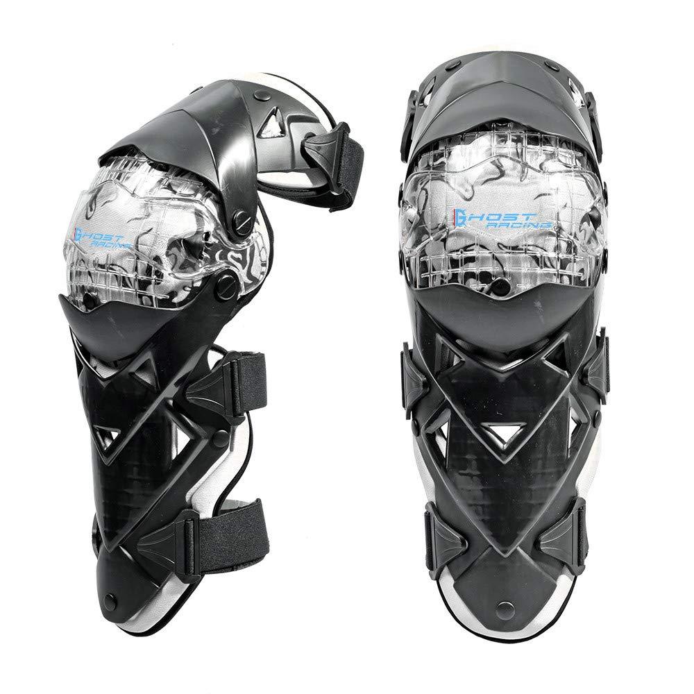 Noir WOSAWE Moto Genouill/ères S/écurit/é R/églable Prot/ège-Tibias /Équipement de Protection pour Adulte Cyclisme V/élo Patinage Racing Scooter