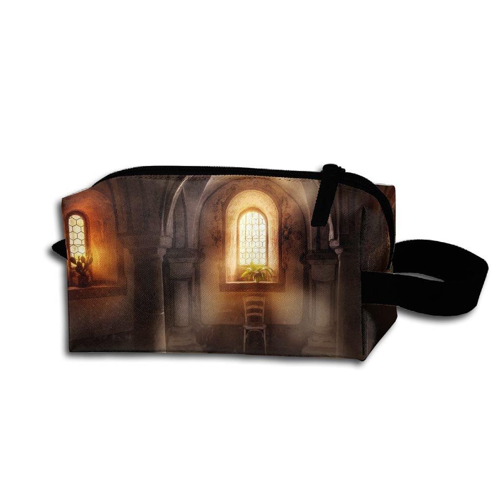 Makeup Cosmetic Bag Basilica Columns Window Sunshine Plants Medicine Bag Zip Travel Portable Storage Pouch For Mens Womens