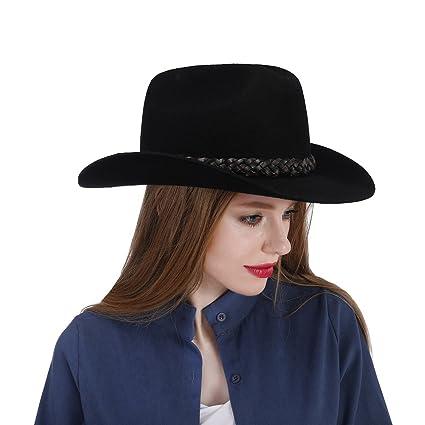 XHD-Sombreros Sombrero de Bailey Negro Vintage Sombrero de Vaquero Sombrero  de Lana de Las 4c919e613ab