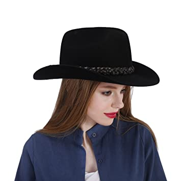 YINUO Gorras Sombrero de Vaquero Negro Vintage Sombrero de Vaquero 100% de Fieltro de Lana