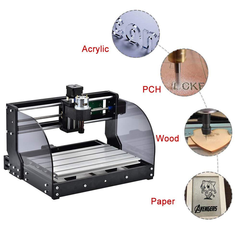 Vogvigo 2 en 1 CNC 3018 Pro Fresadora con L/áser de 5500 mW Control GRBL Mini M/áquina CNC kit de Enrutador de Madera de PVC Acr/ílico PCB de 3 Ejes con Controlador Fuera de L/ínea Area 300x180x45 mm