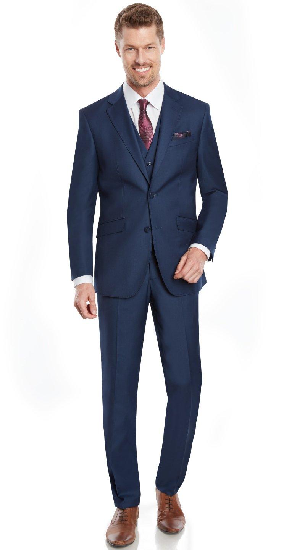 Mens Slim Fit Notched Lapel 3 Piece Suit Set Designed by Taheri Blue Navy 80/20(US 48R / EU 58R / Waist 42)