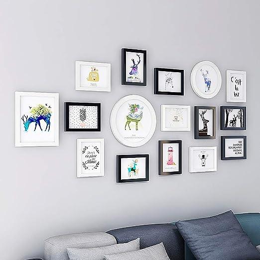 16 Pack de marcos para cuadros con marco de fotos para pared con plantilla para colgar,