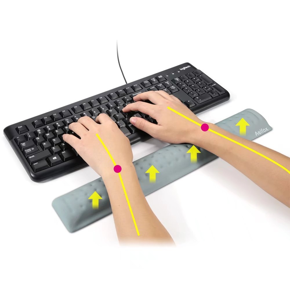 Ergonomic Wrist Pads for Productive Typing and Wrist Pain Relief Upgraded Softer Version Set Aelfox Keyboard Wrist Rest /& Mouse Pad Wrist Support