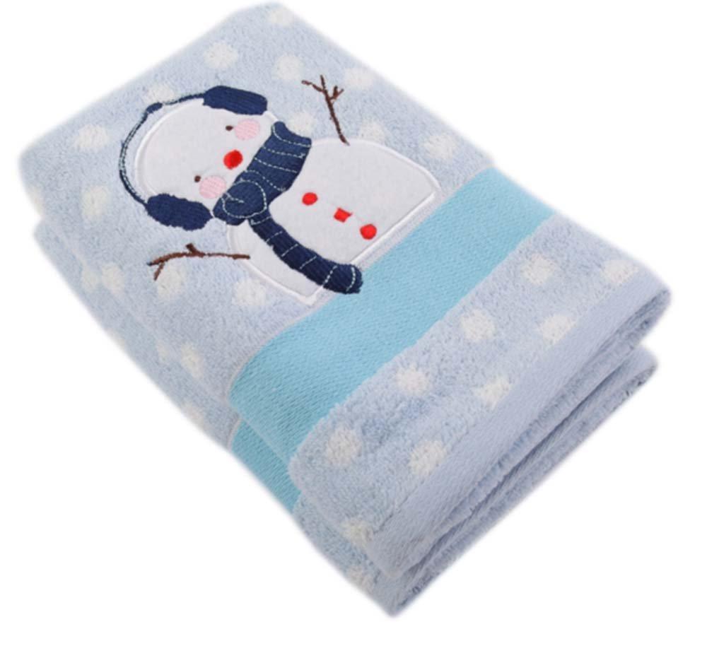 JD SUITCASE Blue Snowman Cotton Washcloth