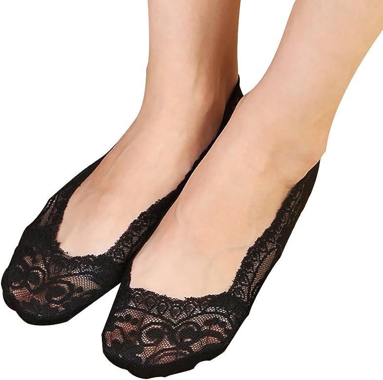 Donna invisibile in Pizzo Calzini Donna il piedino LINER BARCA calzini antiscivolo in silicone