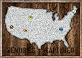 Reflective Art 24' x 17' 'Galvanized US Map with Magnets Metal & Wood Wall
