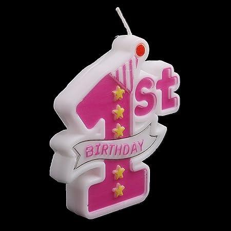 FXCO - Velas de cumpleaños, 1 año, Color Rosa: Amazon.es ...