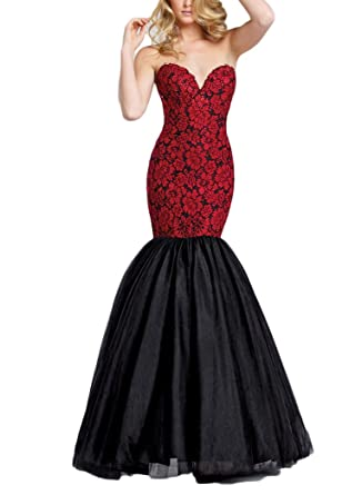 TulBridal Womens Red Appliques Beaded Black Mermaid Prom Dresses Plus Size
